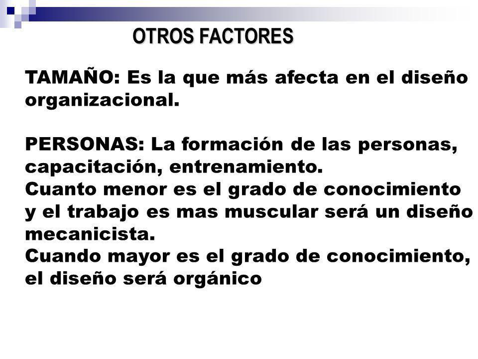 OTROS FACTORES TAMAÑO: Es la que más afecta en el diseño organizacional. PERSONAS: La formación de las personas, capacitación, entrenamiento. Cuanto m
