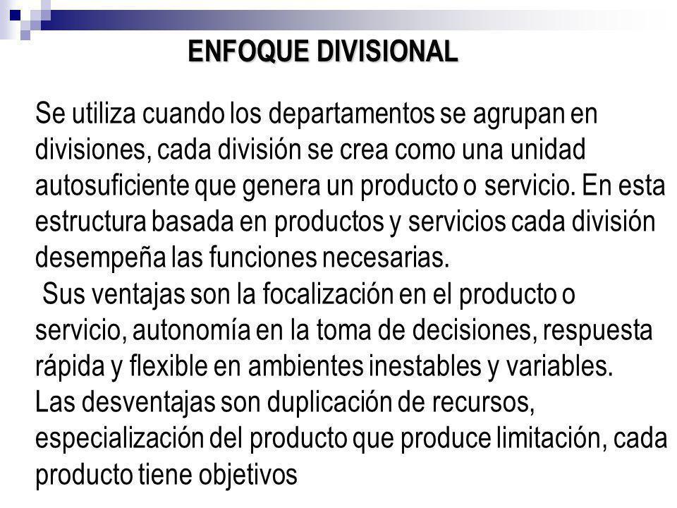 ENFOQUE DIVISIONAL Se utiliza cuando los departamentos se agrupan en divisiones, cada división se crea como una unidad autosuficiente que genera un pr