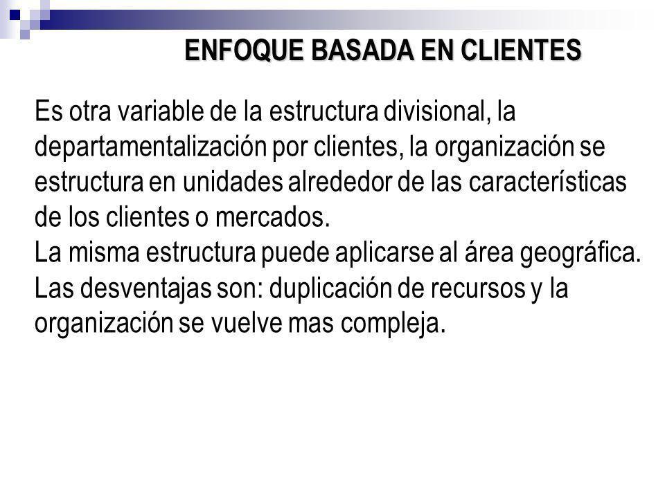 ENFOQUE BASADA EN CLIENTES Es otra variable de la estructura divisional, la departamentalización por clientes, la organización se estructura en unidad