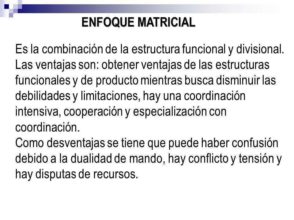 ENFOQUE MATRICIAL Es la combinación de la estructura funcional y divisional. Las ventajas son: obtener ventajas de las estructuras funcionales y de pr