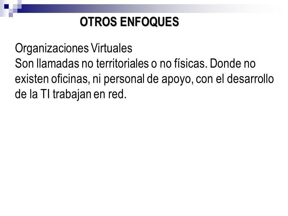 OTROS ENFOQUES Organizaciones Virtuales Son llamadas no territoriales o no físicas. Donde no existen oficinas, ni personal de apoyo, con el desarrollo