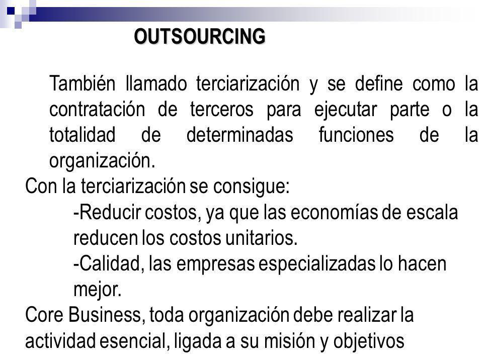 OUTSOURCING También llamado terciarización y se define como la contratación de terceros para ejecutar parte o la totalidad de determinadas funciones d