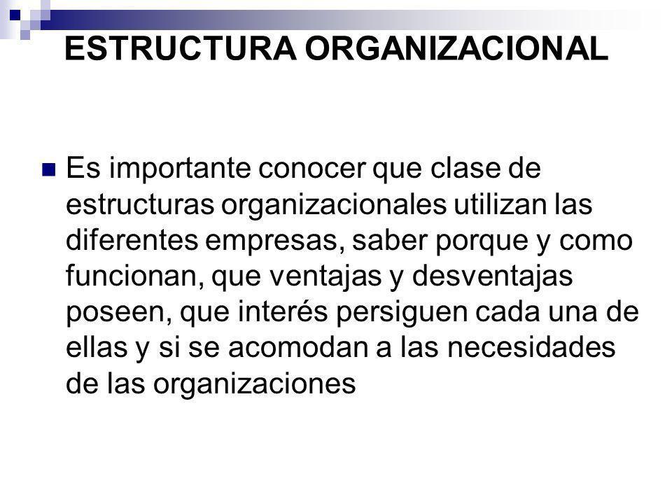 ESTRUCTURA ORGANIZACIONAL Es importante conocer que clase de estructuras organizacionales utilizan las diferentes empresas, saber porque y como funcio