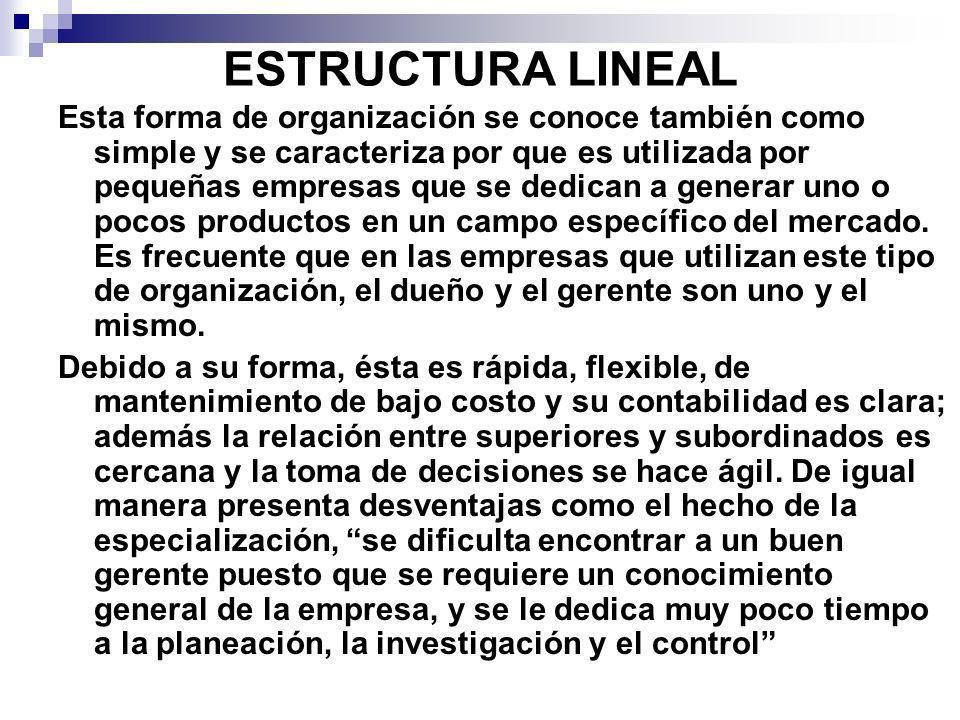 ESTRUCTURA LINEAL Esta forma de organización se conoce también como simple y se caracteriza por que es utilizada por pequeñas empresas que se dedican