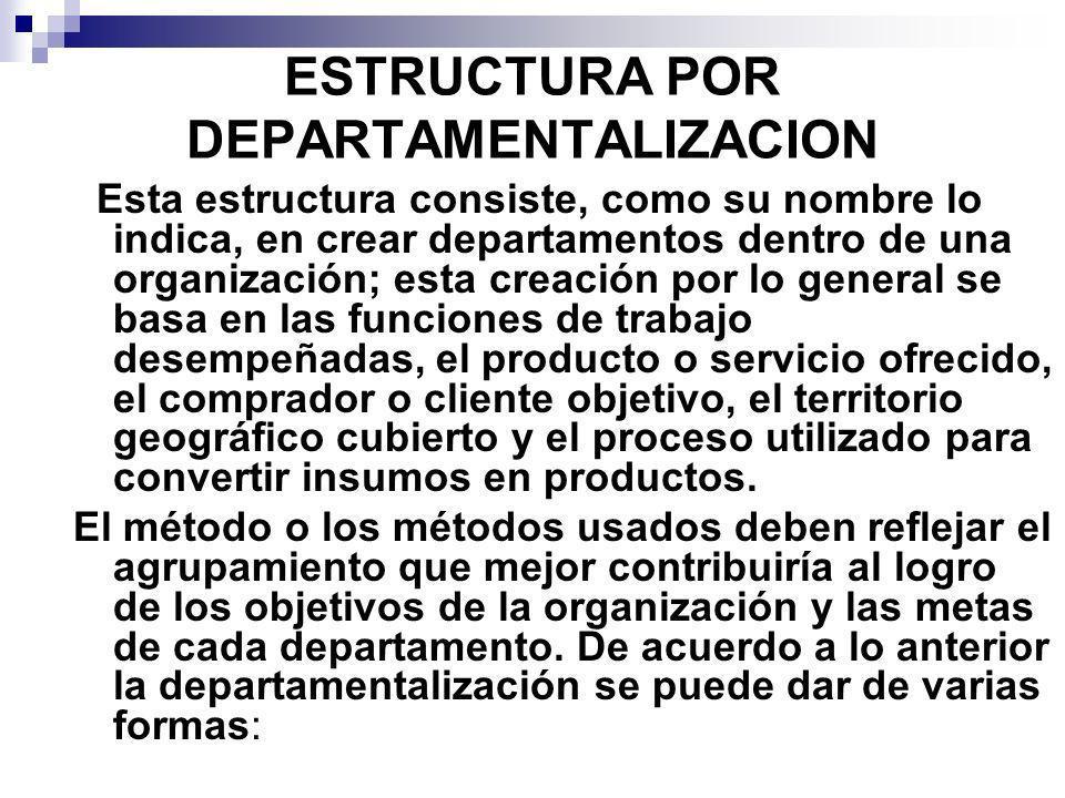 ESTRUCTURA POR DEPARTAMENTALIZACION Esta estructura consiste, como su nombre lo indica, en crear departamentos dentro de una organización; esta creaci
