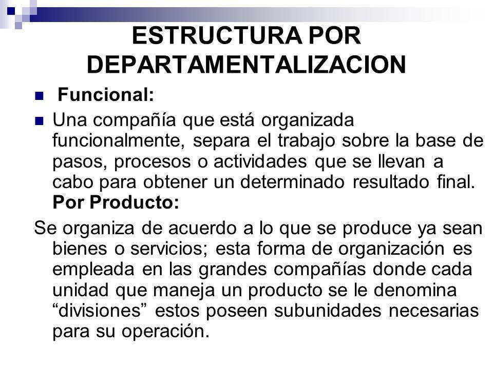 ESTRUCTURA POR DEPARTAMENTALIZACION Funcional: Una compañía que está organizada funcionalmente, separa el trabajo sobre la base de pasos, procesos o a