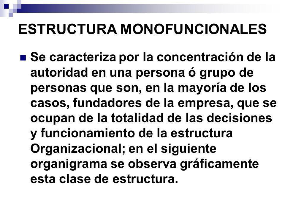 ESTRUCTURA MONOFUNCIONALES Se caracteriza por la concentración de la autoridad en una persona ó grupo de personas que son, en la mayoría de los casos,