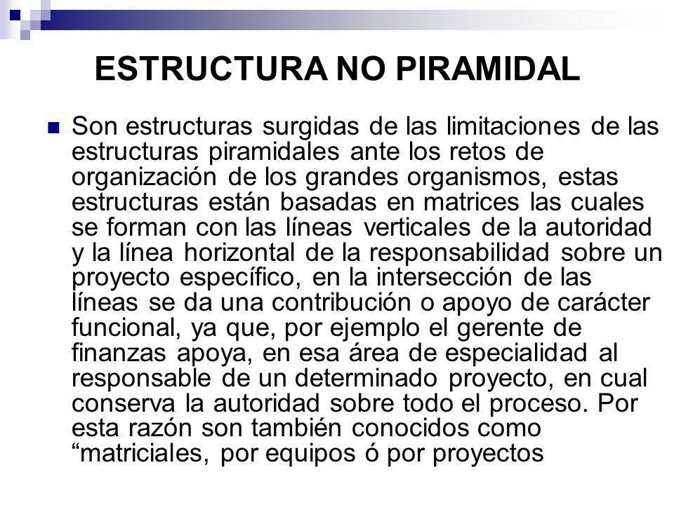 ESTRUCTURA NO PIRAMIDAL Son estructuras surgidas de las limitaciones de las estructuras piramidales ante los retos de organización de los grandes orga