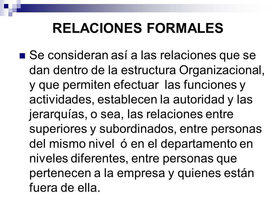 RELACIONES FORMALES Se consideran así a las relaciones que se dan dentro de la estructura Organizacional, y que permiten efectuar las funciones y acti