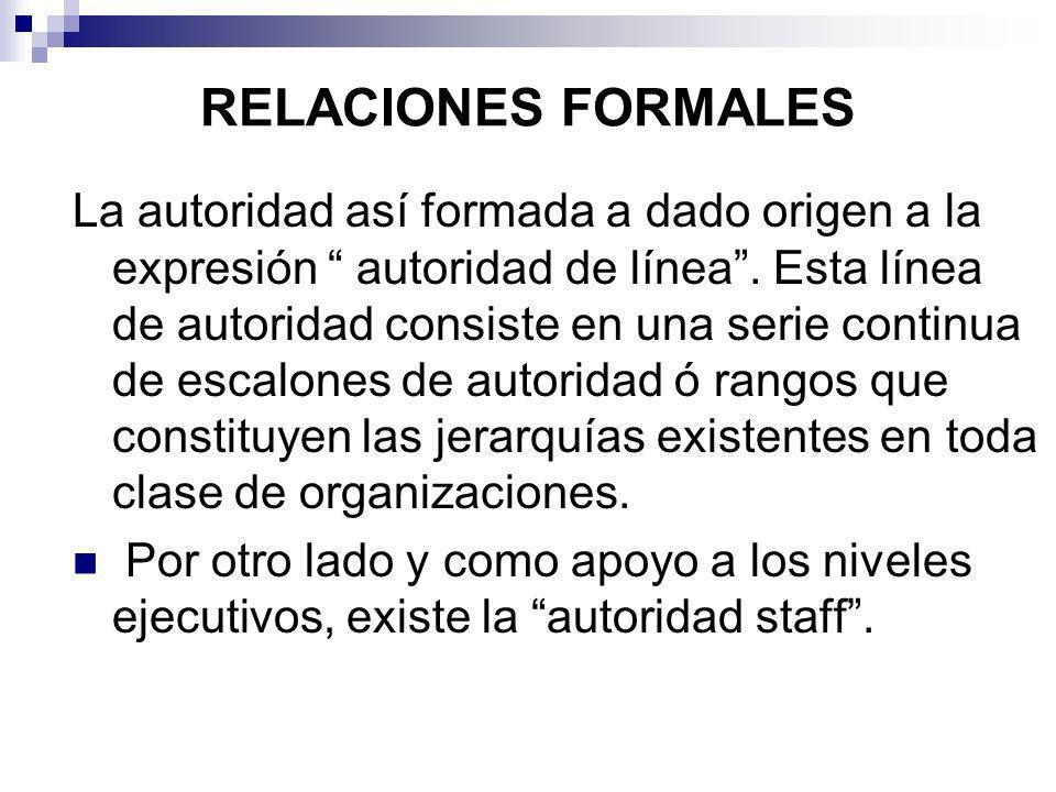 RELACIONES FORMALES La autoridad así formada a dado origen a la expresión autoridad de línea. Esta línea de autoridad consiste en una serie continua d