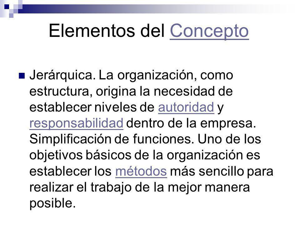Elementos del ConceptoConcepto Jerárquica. La organización, como estructura, origina la necesidad de establecer niveles de autoridad y responsabilidad