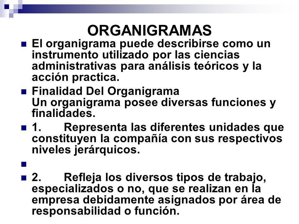 ORGANIGRAMAS El organigrama puede describirse como un instrumento utilizado por las ciencias administrativas para análisis teóricos y la acción practi