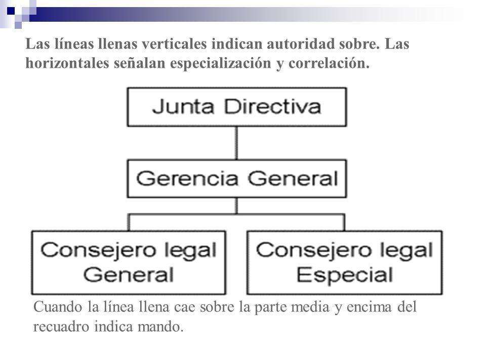 Las líneas llenas verticales indican autoridad sobre. Las horizontales señalan especialización y correlación. Cuando la línea llena cae sobre la parte