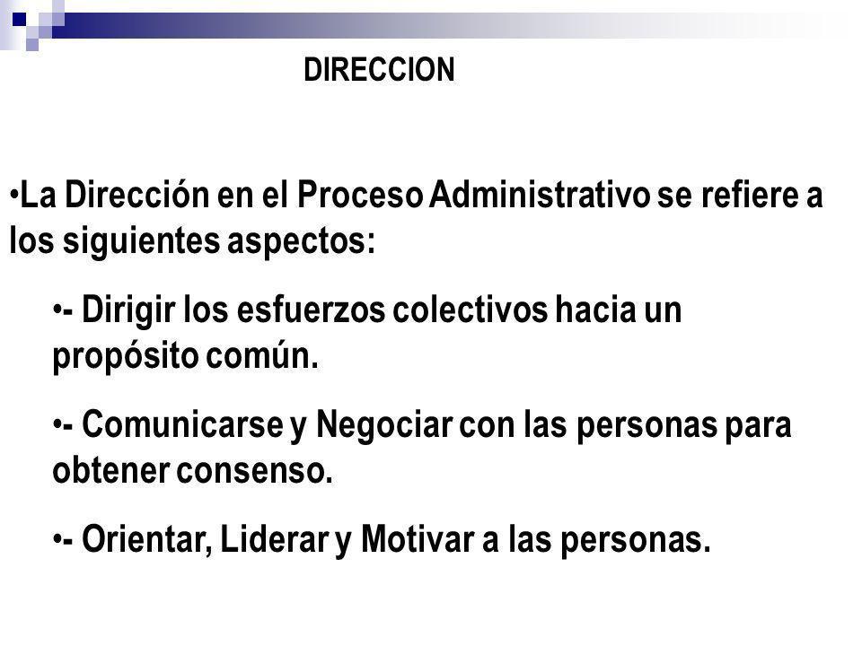 La Dirección en el Proceso Administrativo se refiere a los siguientes aspectos: - Dirigir los esfuerzos colectivos hacia un propósito común. - Comunic