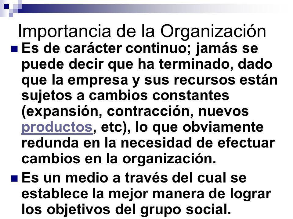Importancia de la Organización Es de carácter continuo; jamás se puede decir que ha terminado, dado que la empresa y sus recursos están sujetos a camb
