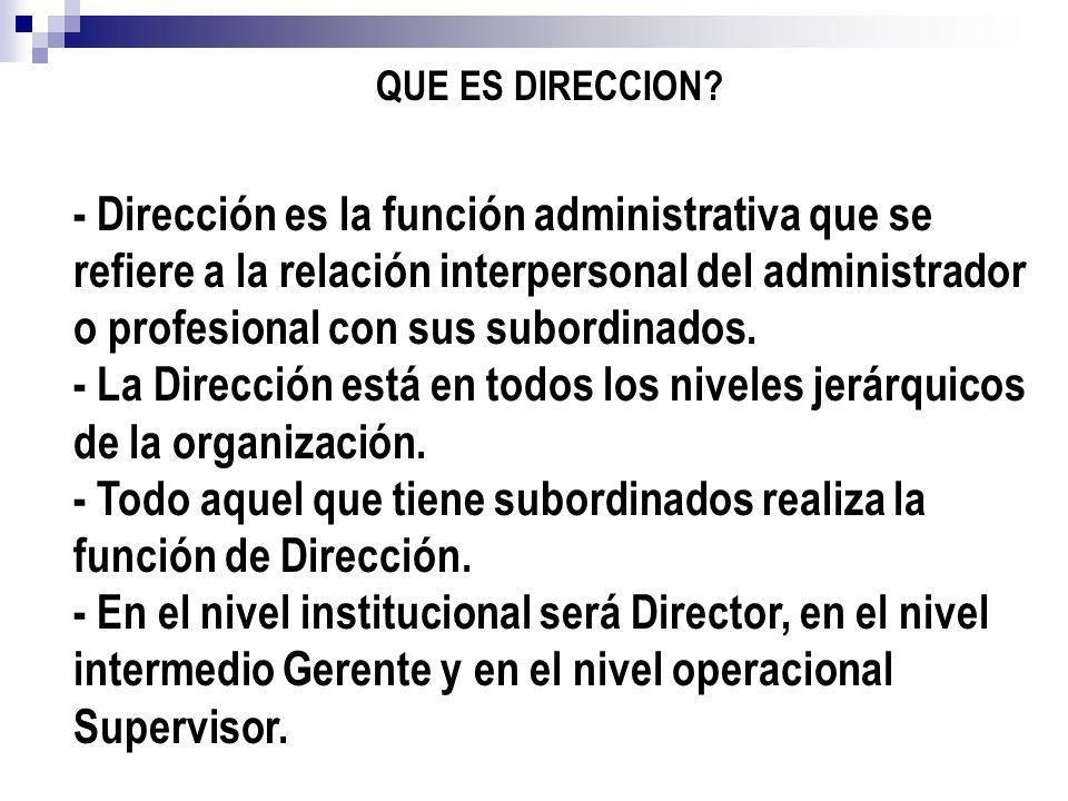 QUE ES DIRECCION? - Dirección es la función administrativa que se refiere a la relación interpersonal del administrador o profesional con sus subordin
