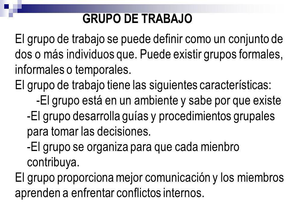 GRUPO DE TRABAJO El grupo de trabajo se puede definir como un conjunto de dos o más individuos que. Puede existir grupos formales, informales o tempor