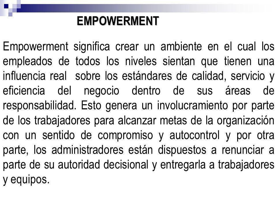 EMPOWERMENT Empowerment significa crear un ambiente en el cual los empleados de todos los niveles sientan que tienen una influencia real sobre los est
