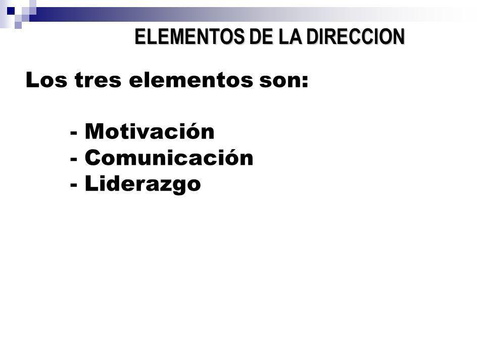 ELEMENTOS DE LA DIRECCION Los tres elementos son: - Motivación - Comunicación - Liderazgo