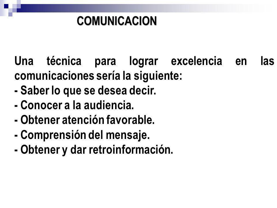 COMUNICACION Una técnica para lograr excelencia en las comunicaciones sería la siguiente: - Saber lo que se desea decir. - Conocer a la audiencia. - O