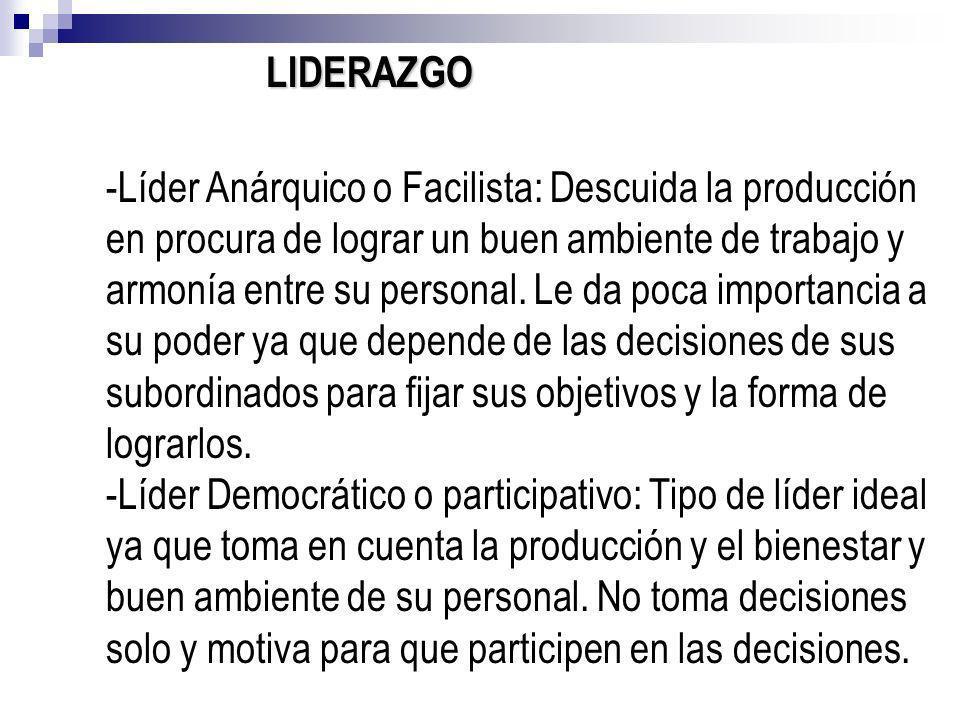 LIDERAZGO -Líder Anárquico o Facilista: Descuida la producción en procura de lograr un buen ambiente de trabajo y armonía entre su personal. Le da poc