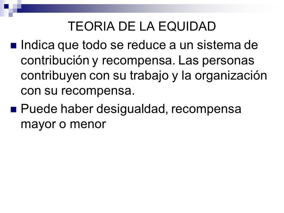 TEORIA DE LA EQUIDAD Indica que todo se reduce a un sistema de contribución y recompensa. Las personas contribuyen con su trabajo y la organización co