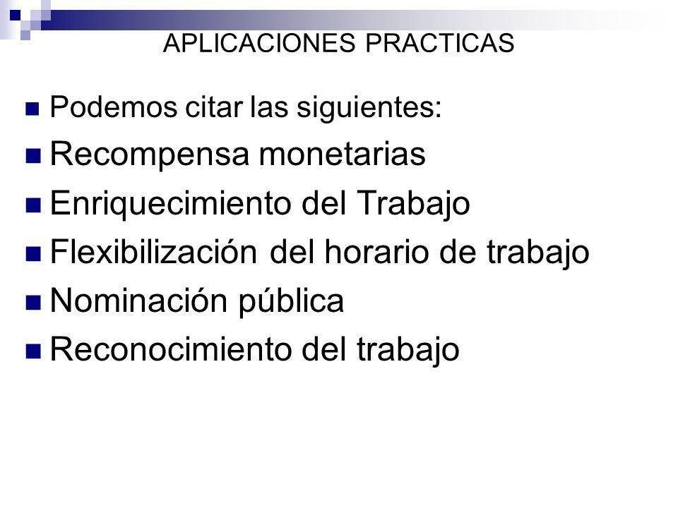 APLICACIONES PRACTICAS Podemos citar las siguientes: Recompensa monetarias Enriquecimiento del Trabajo Flexibilización del horario de trabajo Nominaci