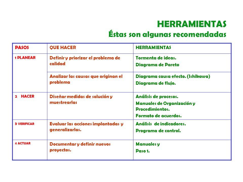HERRAMIENTAS PARA LA MEJORA CONTINUA TORMENTA DE IDEAS DIAGRAMA DE PARETO DIAGRAMA DE CAUSA - EFECTO (ISHIKAWA) DIAGRAMA DE FLUJO MANUALES DE PROCEDIMIENTOS Y ORGANIZACIÓN FORMATO DE ACUERDOS INDICADORES DIAGRAMA DE CONTROL