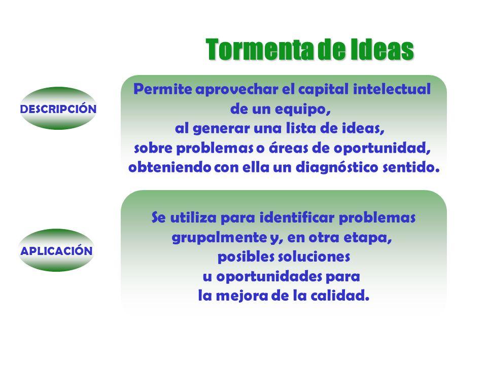 Tormenta de Ideas METODOLOGÍA Definir un problema o tema de interés Elegir un moderador y un secretario Proponer ideas Enriquecer ideas Analizar y sintetizar ideas