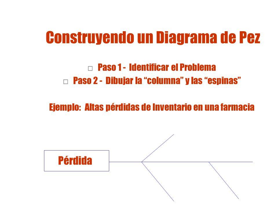 Construyendo el Diagrama Pez Paso 3 - Identificar diferentes áreas de donde podría surgir el problema Ej.