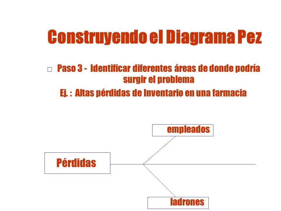 Construyendo un Diagrama Pez Paso 4 - Identificar cuáles podrían ser las causas específicas Ej.