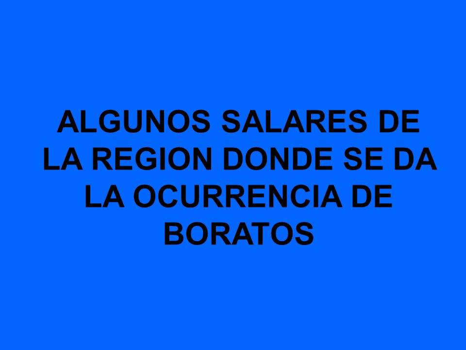 ALGUNOS SALARES DE LA REGION DONDE SE DA LA OCURRENCIA DE BORATOS