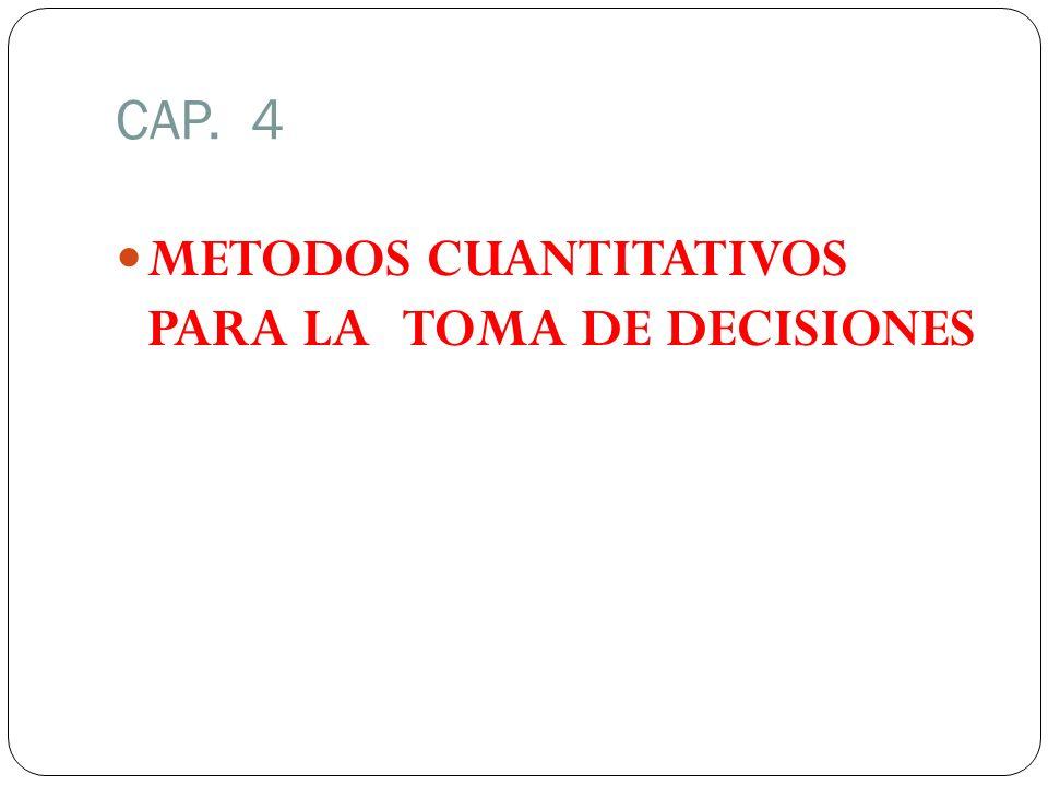 CAP. 4 METODOS CUANTITATIVOS PARA LA TOMA DE DECISIONES