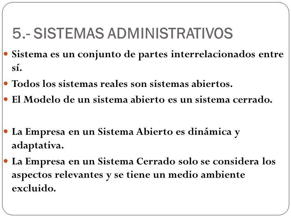 5.- SISTEMAS ADMINISTRATIVOS Sistema es un conjunto de partes interrelacionados entre sí. Todos los sistemas reales son sistemas abiertos. El Modelo d