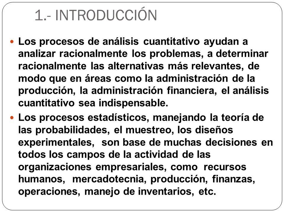 1.- INTRODUCCIÓN Los procesos de análisis cuantitativo ayudan a analizar racionalmente los problemas, a determinar racionalmente las alternativas más