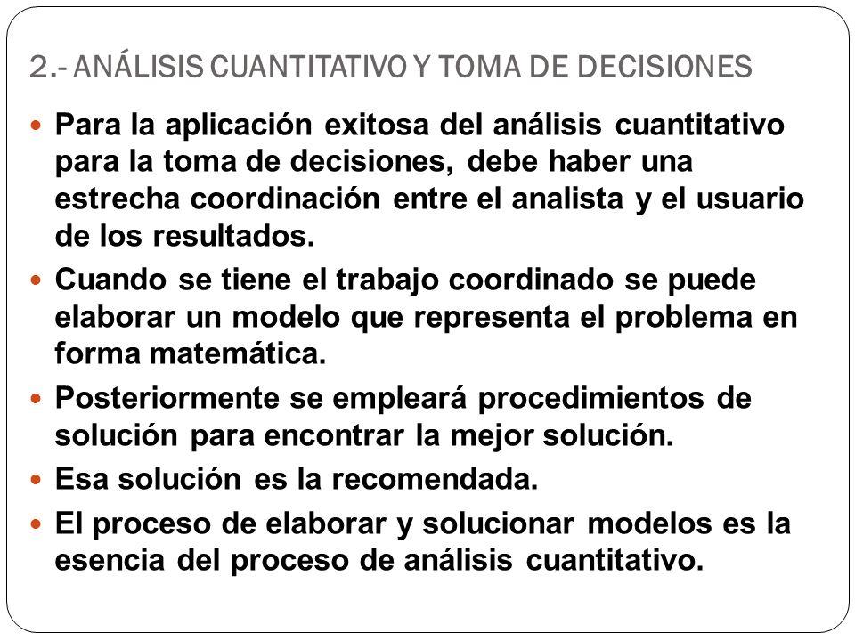 2.- ANÁLISIS CUANTITATIVO Y TOMA DE DECISIONES Para la aplicación exitosa del análisis cuantitativo para la toma de decisiones, debe haber una estrech