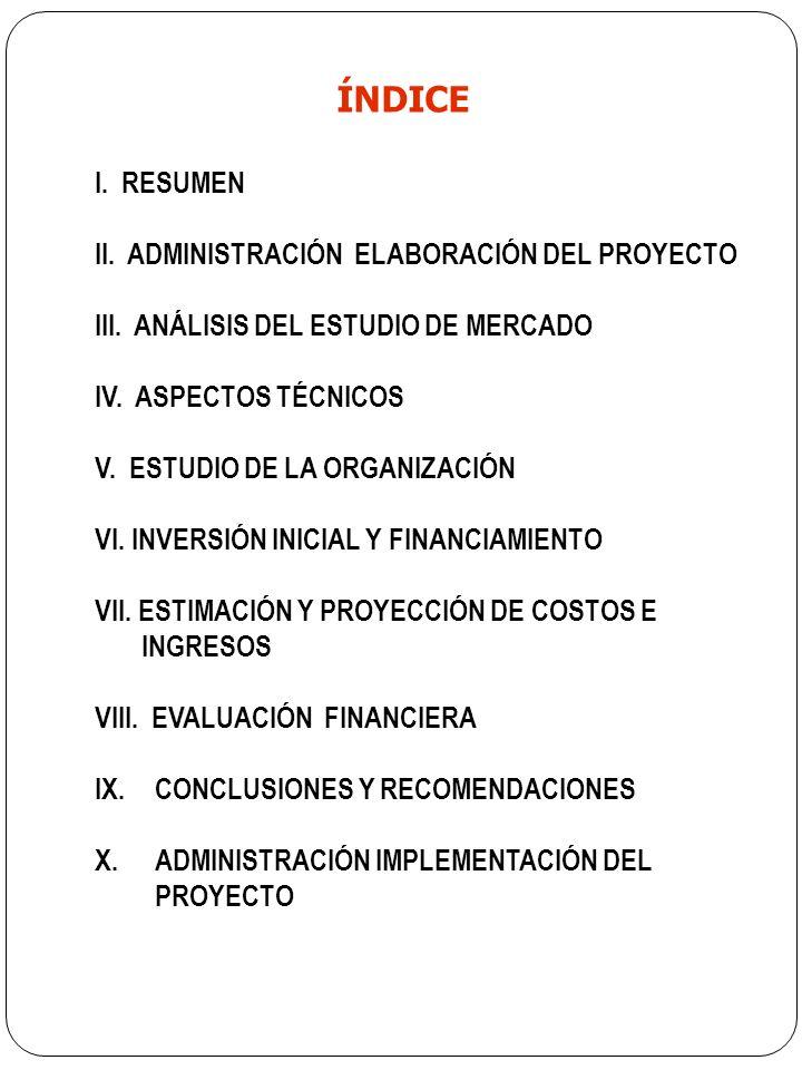 ÍNDICE I.RESUMEN II. ADMINISTRACIÓN ELABORACIÓN DEL PROYECTO III.