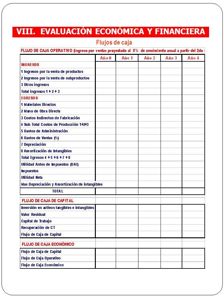VIII. EVALUACIÓN ECONÓMICA Y FINANCIERA Flujos de caja