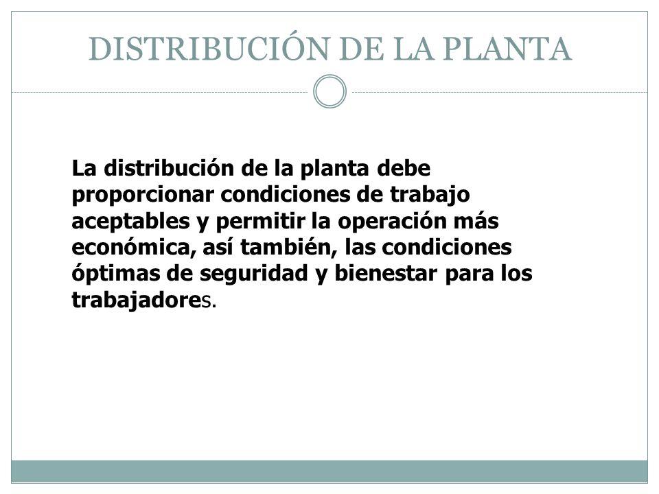 DISTRIBUCIÓN DE LA PLANTA La distribución de la planta debe proporcionar condiciones de trabajo aceptables y permitir la operación más económica, así