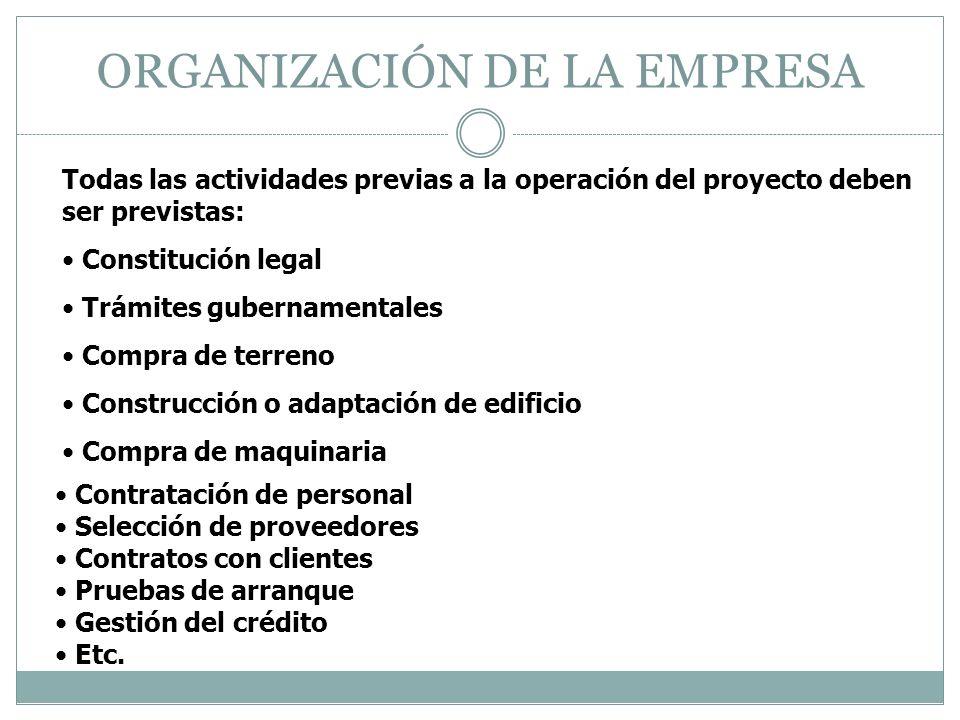 ORGANIZACIÓN DE LA EMPRESA Todas las actividades previas a la operación del proyecto deben ser previstas: Constitución legal Trámites gubernamentales