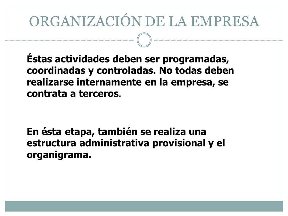 ORGANIZACIÓN DE LA EMPRESA Éstas actividades deben ser programadas, coordinadas y controladas. No todas deben realizarse internamente en la empresa, s