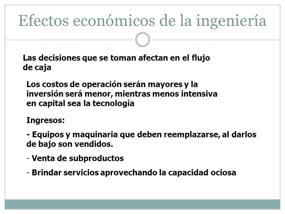 Efectos económicos de la ingeniería Las decisiones que se toman afectan en el flujo de caja Los costos de operación serán mayores y la inversión será