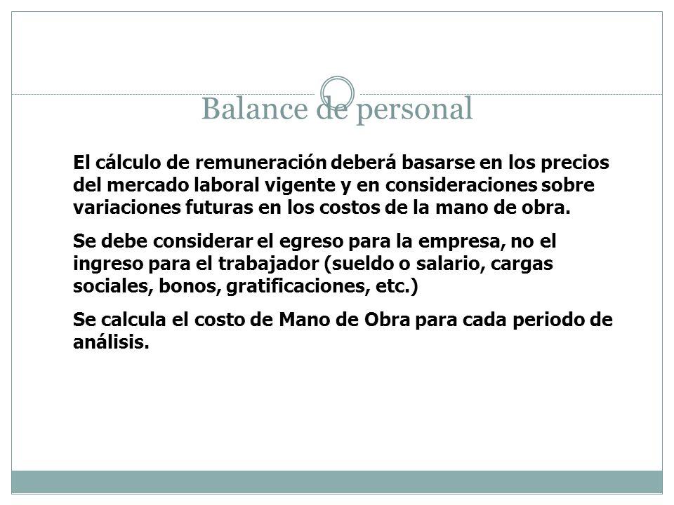 Balance de personal El cálculo de remuneración deberá basarse en los precios del mercado laboral vigente y en consideraciones sobre variaciones futura