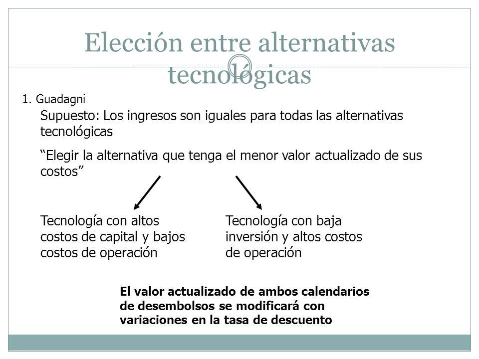 Elección entre alternativas tecnológicas Supuesto: Los ingresos son iguales para todas las alternativas tecnológicas Elegir la alternativa que tenga e