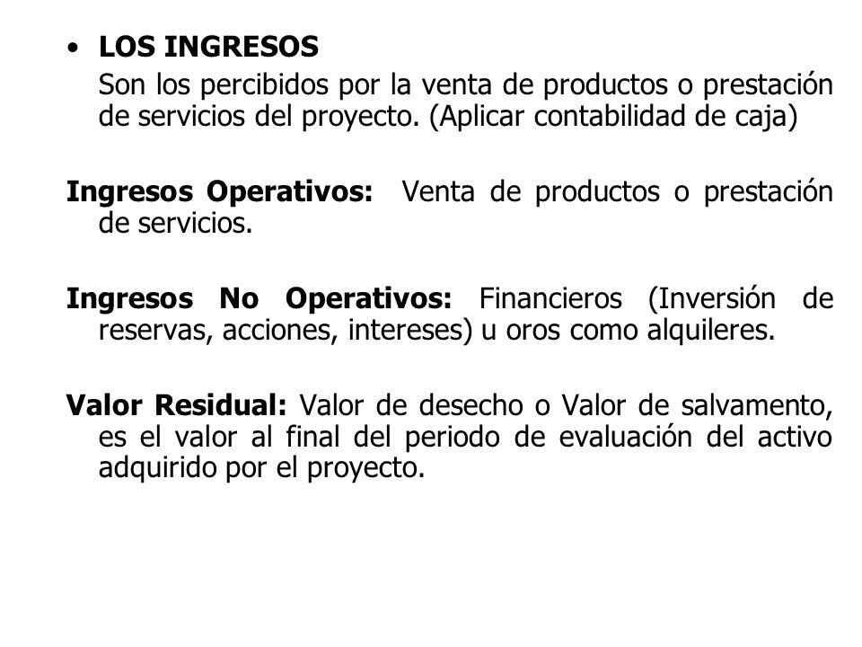 LOS INGRESOS Son los percibidos por la venta de productos o prestación de servicios del proyecto. (Aplicar contabilidad de caja) Ingresos Operativos: