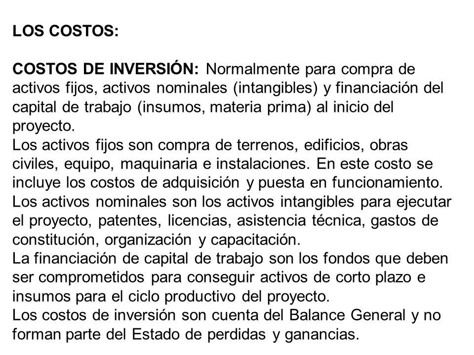 LOS COSTOS: COSTOS DE INVERSIÓN: Normalmente para compra de activos fijos, activos nominales (intangibles) y financiación del capital de trabajo (insu
