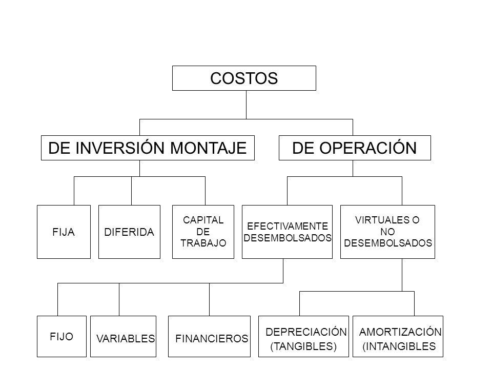 COSTOS DE INVERSIÓN MONTAJEDE OPERACIÓN VIRTUALES O NO DESEMBOLSADOS FIJA EFECTIVAMENTE DESEMBOLSADOS CAPITAL DE TRABAJO DIFERIDA FIJO VARIABLES FINAN