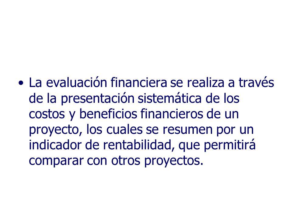 La evaluación financiera se realiza a través de la presentación sistemática de los costos y beneficios financieros de un proyecto, los cuales se resum