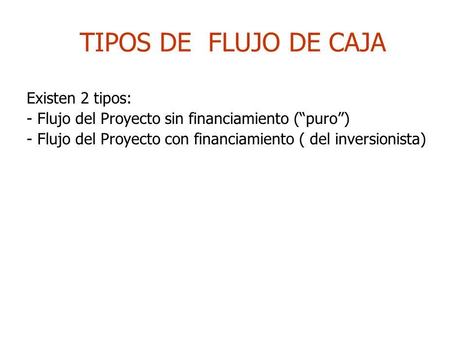 TIPOS DE FLUJO DE CAJA Existen 2 tipos: - Flujo del Proyecto sin financiamiento (puro) - Flujo del Proyecto con financiamiento ( del inversionista)