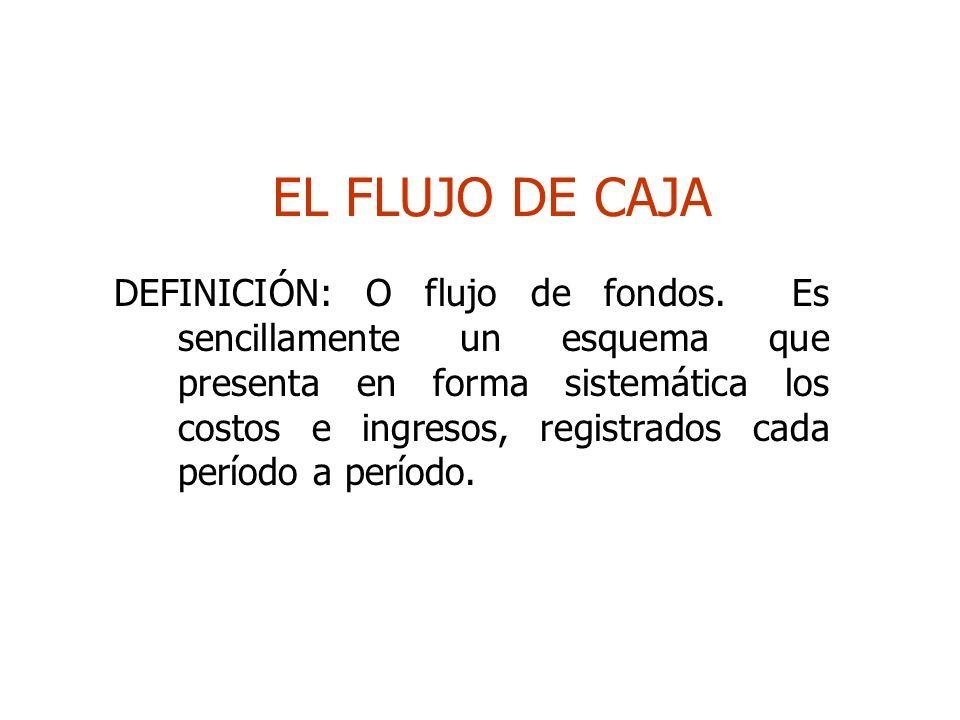 EL FLUJO DE CAJA DEFINICIÓN: O flujo de fondos. Es sencillamente un esquema que presenta en forma sistemática los costos e ingresos, registrados cada